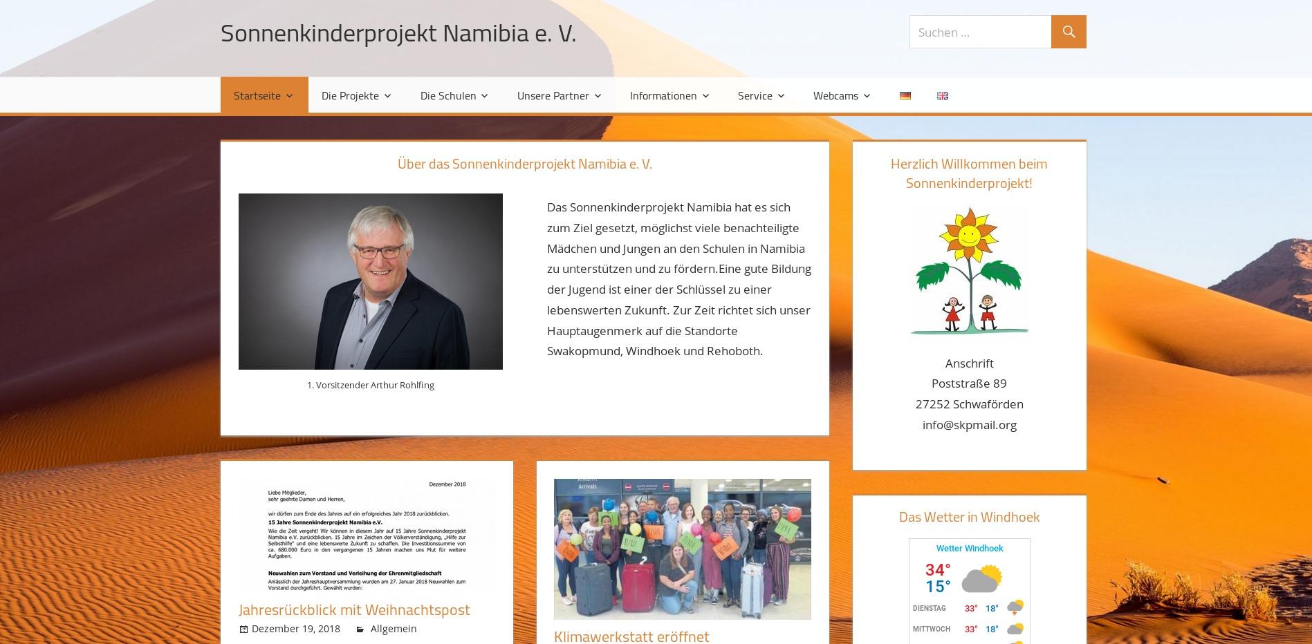 Sonnenkinderprojekt Webseite
